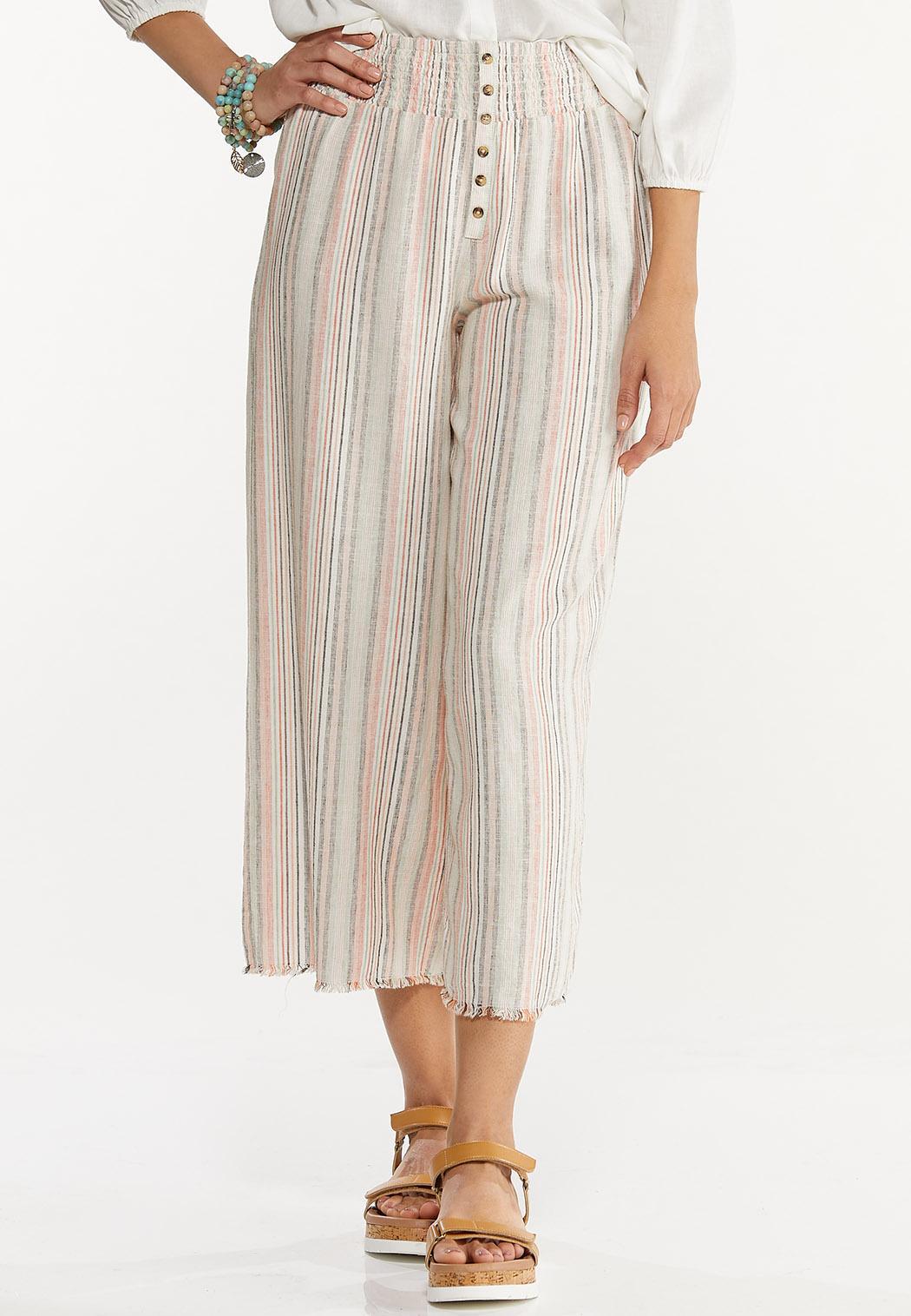Striped Linen Cropped Pants
