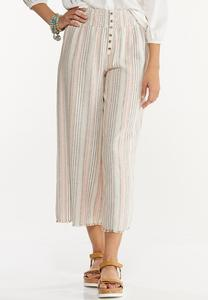 Striped Linen Cropped Pants