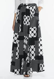 Mixed Dot Maxi Skirt