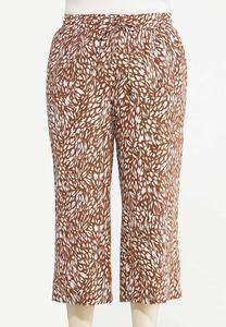 Plus Size Cropped Brush Stroke Linen Pants