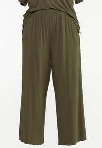 Plus Size Olive Wide Leg Pants
