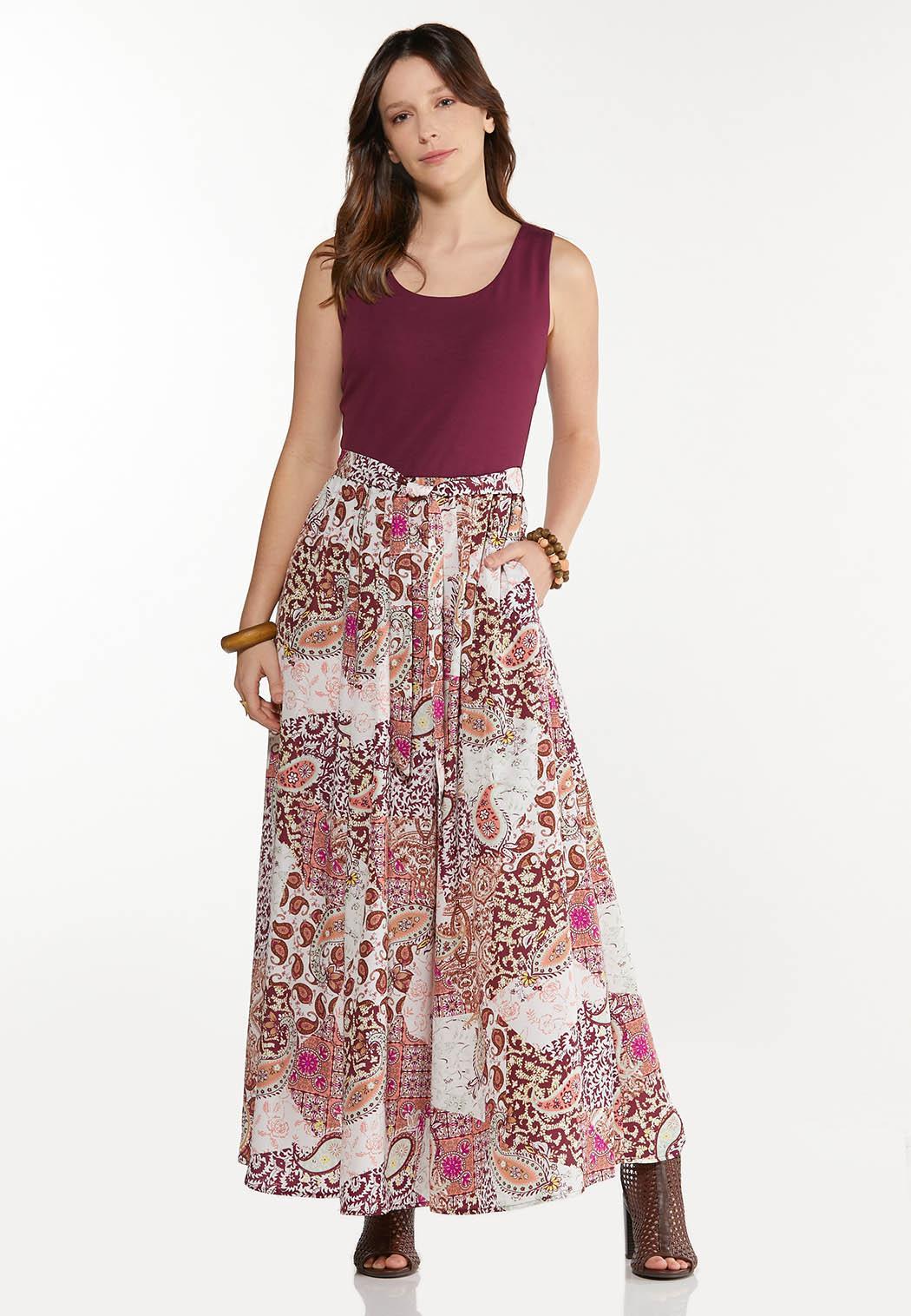 Petite Patchwork Paisley Maxi Dress