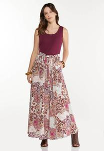 Petite Patchwork Paisley Maxi Dress