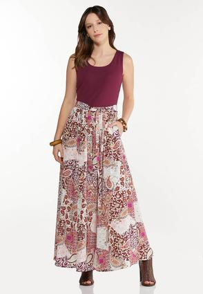 Plus Size Patchwork Paisley Maxi Dress