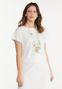 Plus Size Ivory Ribbed Skimmer Top