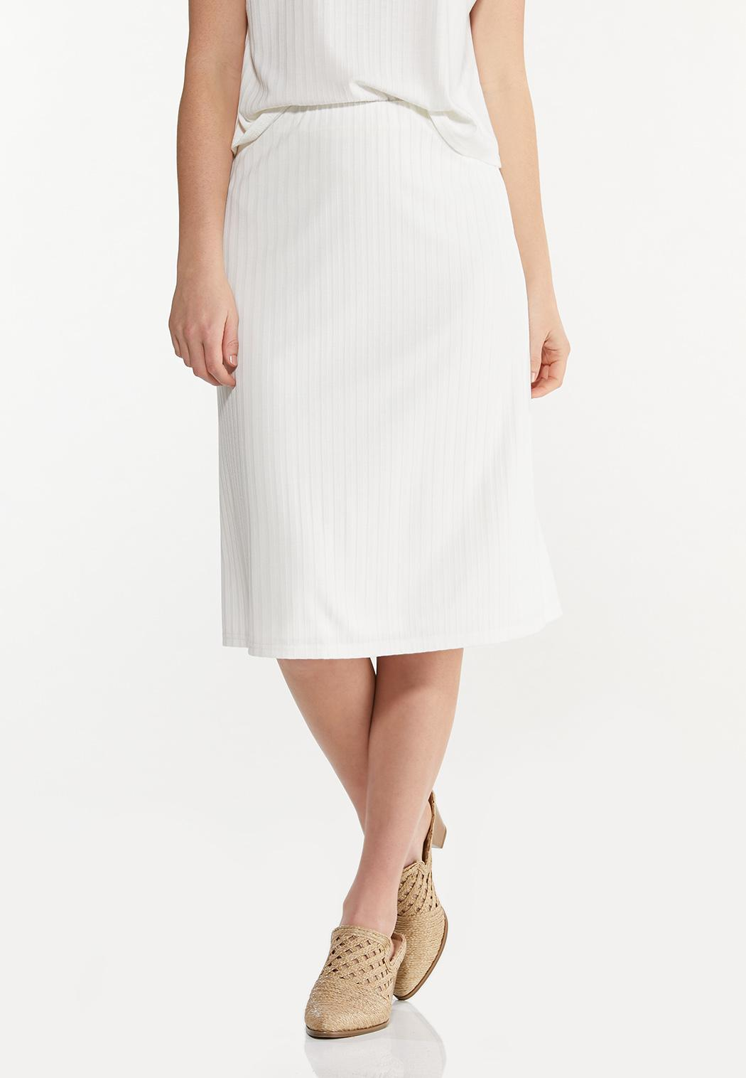 Plus Size Ivory Ribbed Skirt
