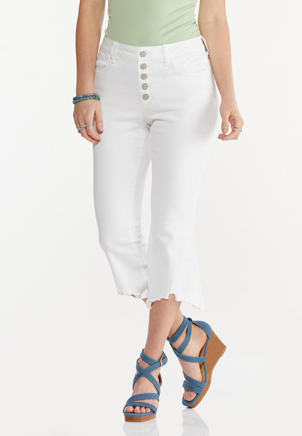 Cropped White Frayed Jeans