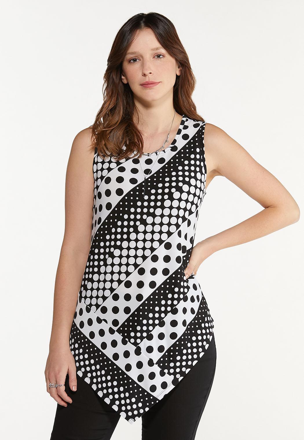 Plus Size Contrast Polka Dot Tunic