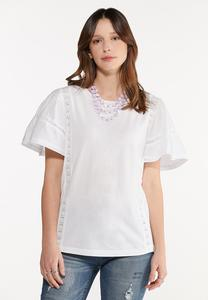Lace Trim Flutter Sleeve Tee