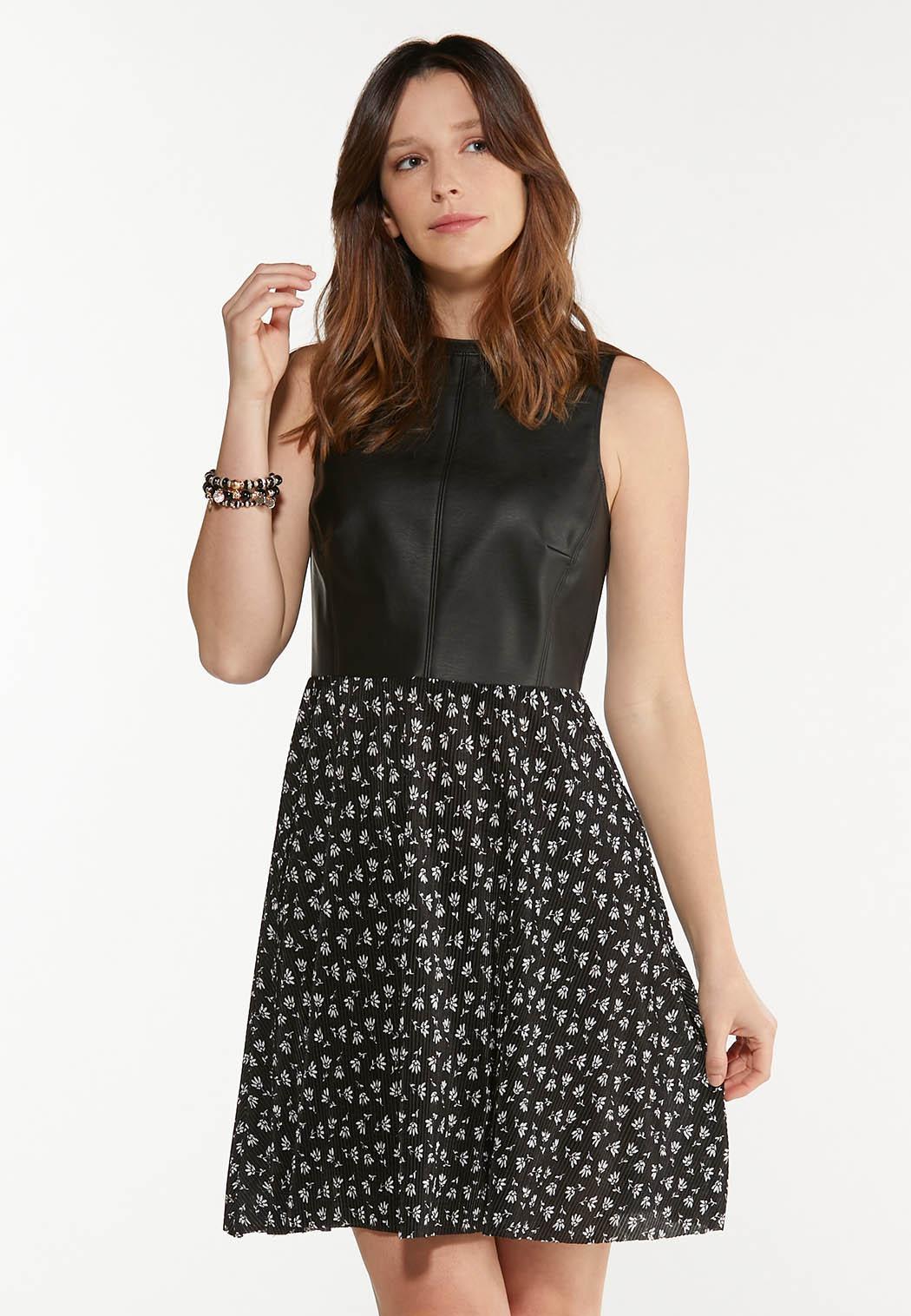 Plus Size Faux Leather Floral Dress