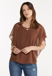 Plus Size Cross Neck Caplet Top