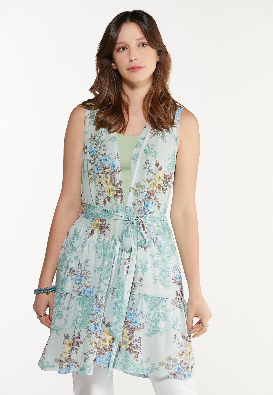 Plus Size Floral Mesh Tie Vest