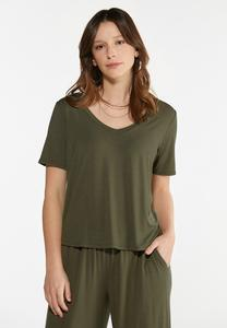 Plus Size Olive Green Top