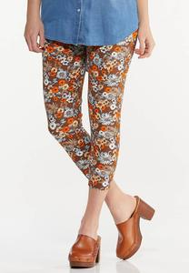 Cropped Brown Floral Pants