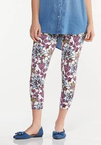 Cropped Purple Floral Pants