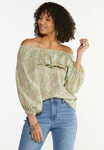 Plus Size Ruffled Paisley Off Shoulder Top