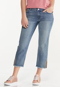 Rainbow Stitch Cropped Jeans