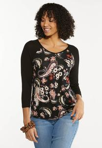 Paisley Twist Hem Top