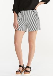 Striped Button Shorts