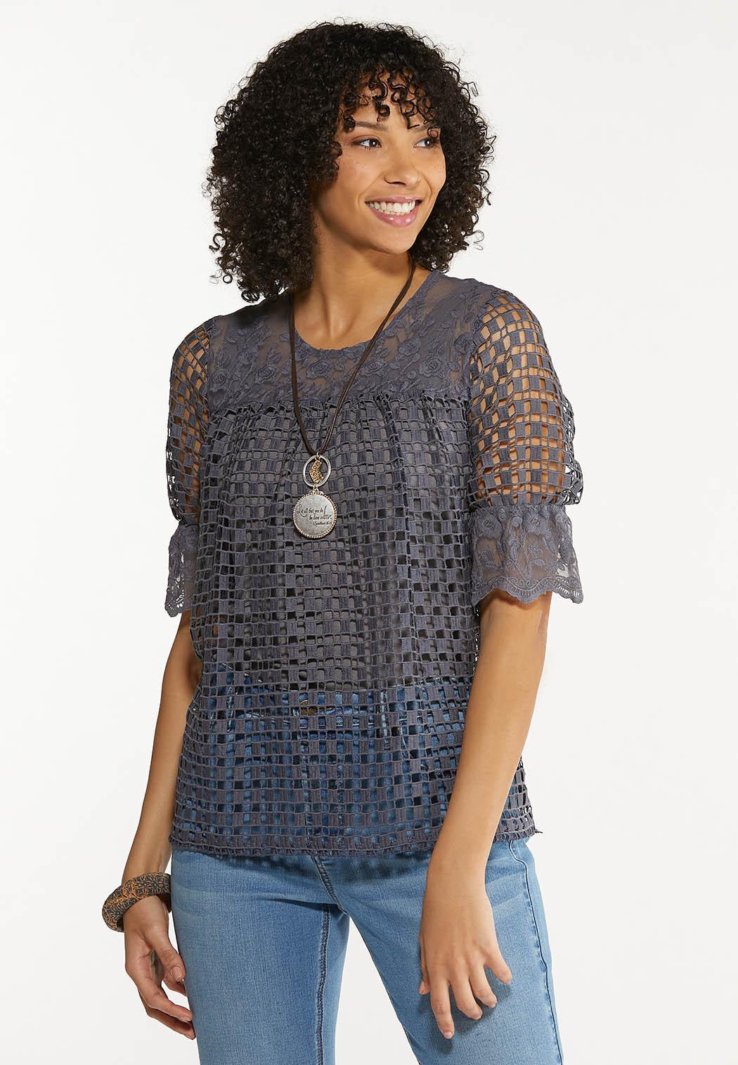 Plus Size Gray Crochet Mesh Top