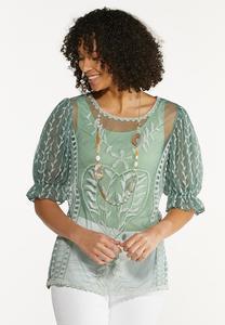 Plus Size Green Mesh Puff Sleeve Top