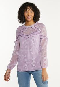 Plus Size Ruffled Embroidered Top