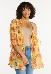 Plus Size Citrus Floral Kimono
