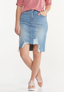 Plus Size Distressed Hem Denim Skirt