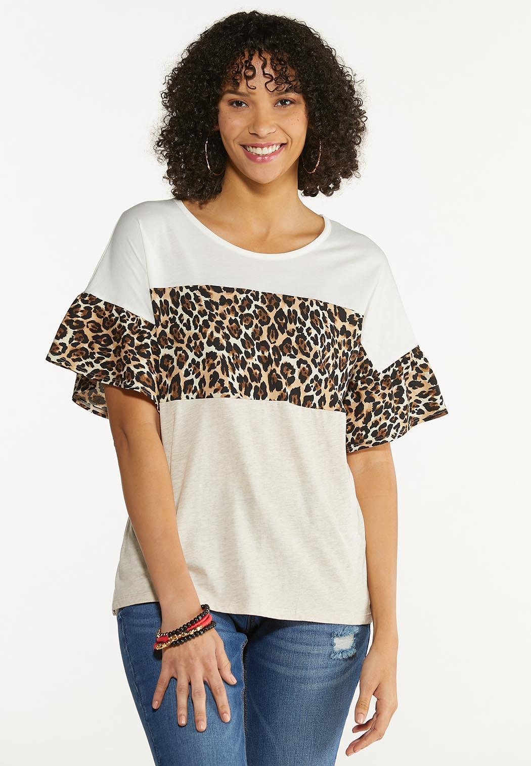 Leopard Colorblock Top