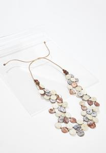 Shell Disc Layered Cord Necklace