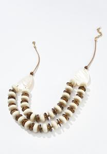 Wood Bead And Shell Necklace