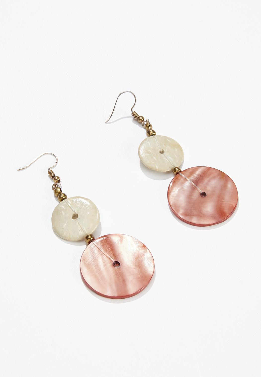 Shell Disc Tiered Earrings