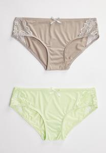 Plus Size Gray And Green Lace Panty Set