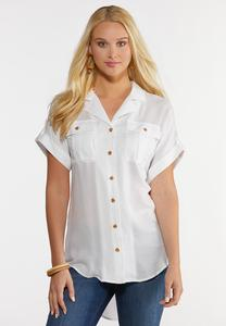 Plus Size White Crepe Button Front Shirt