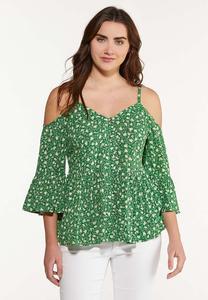 Plus Size Floral Cold Shoulder Top