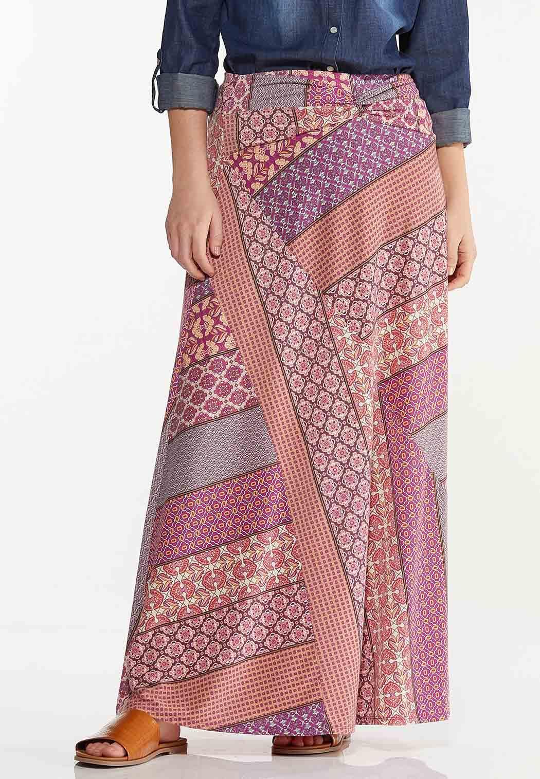 Plus Size Patchwork Stripe Maxi Skirt