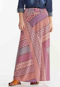 Plus Size Patchwork Stripe Maxi Skirt