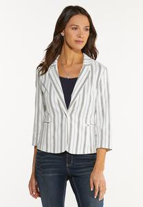Plus Size Striped Bengaline Blazer