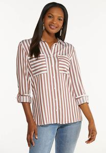 Plus Size Striped Button Down Shirt