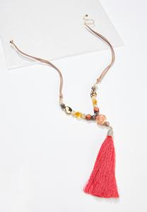 Faux Suede Cord Tassel Necklace