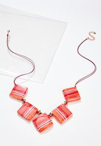 Square Disc Cord Necklace
