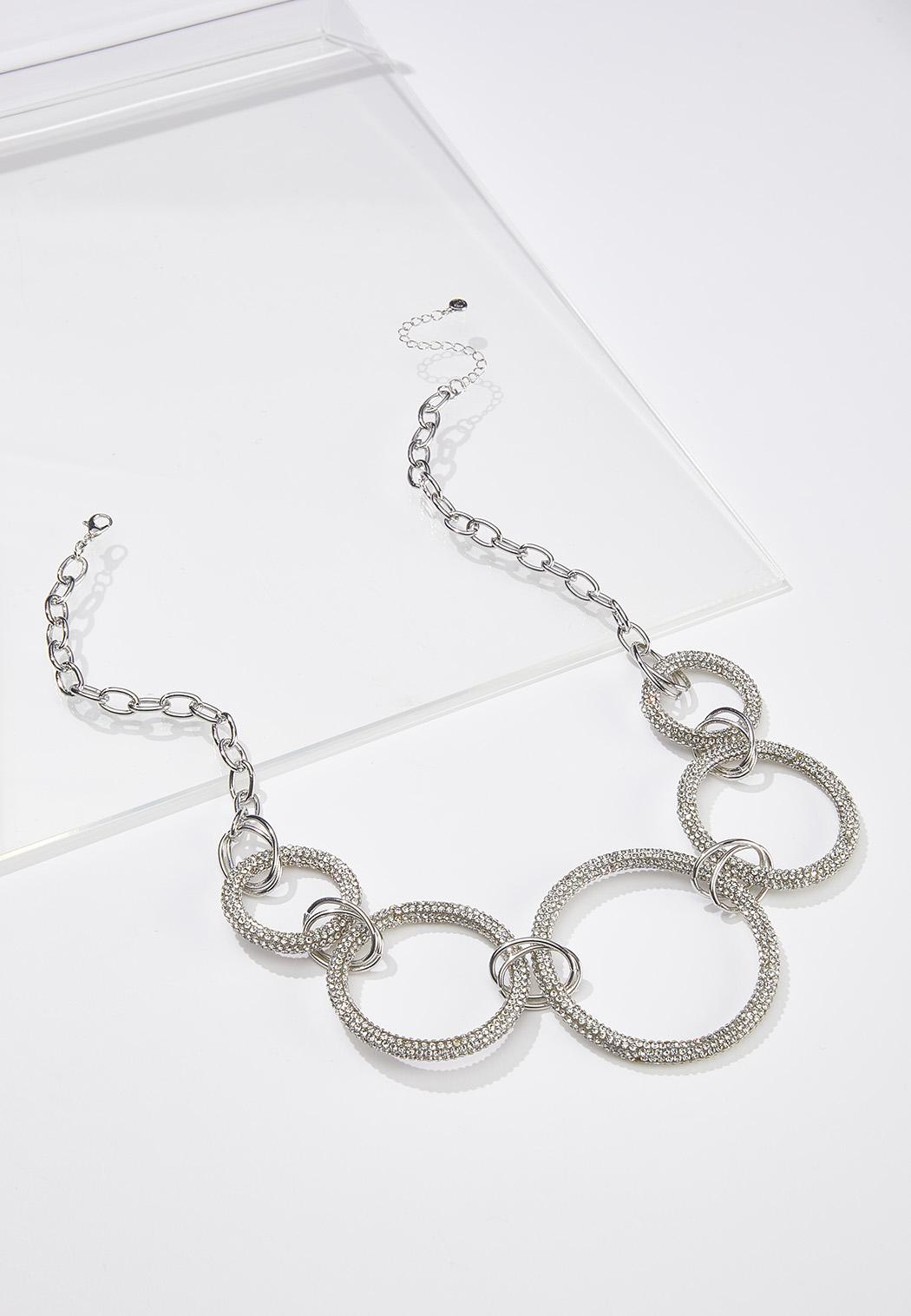 Mesh Rhinestone Ring Necklace