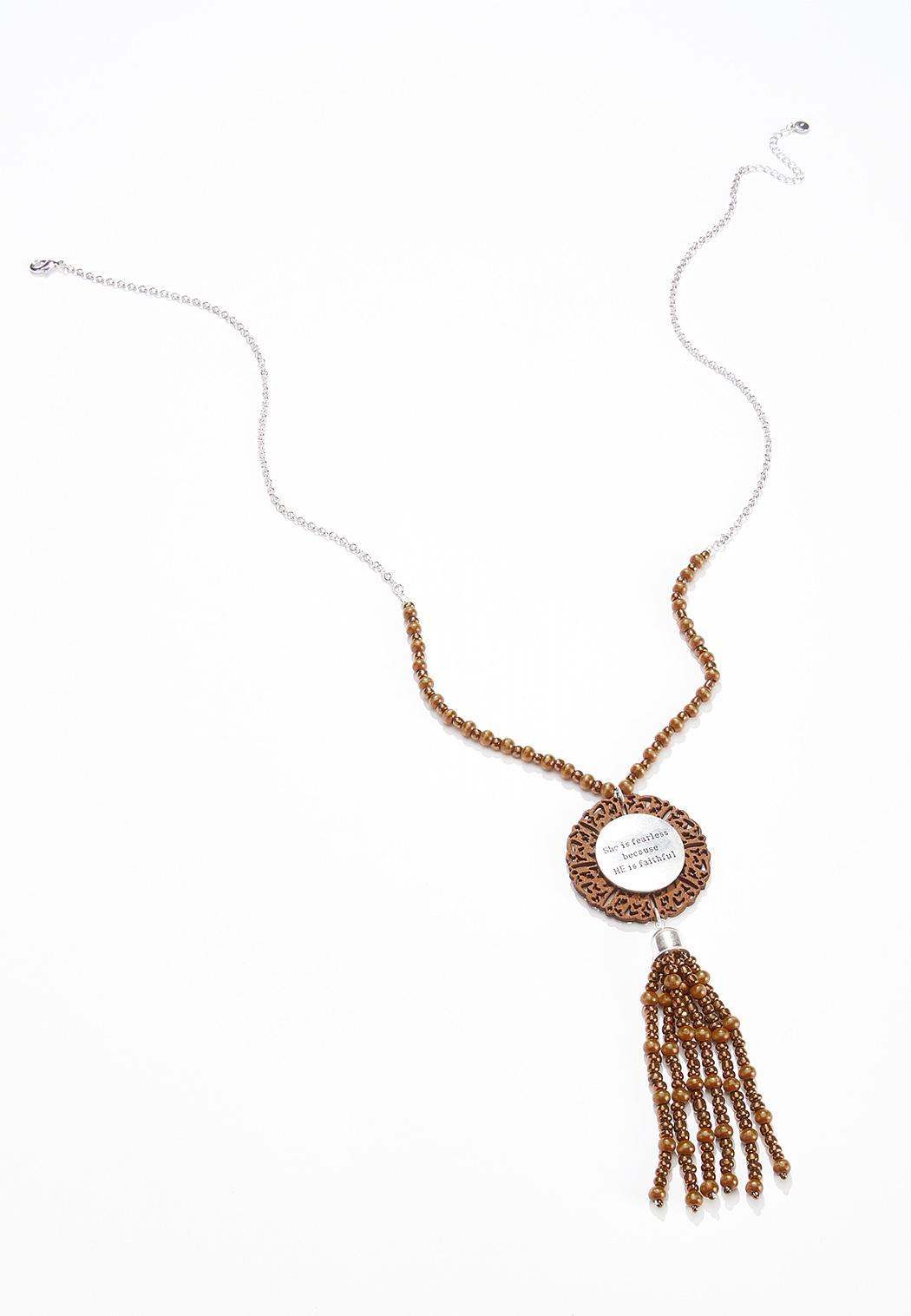 She Is Fearless Tassel Necklace