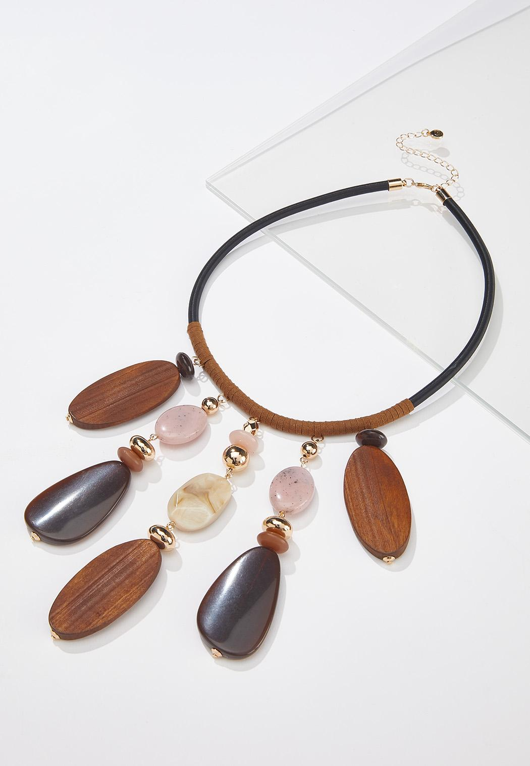 Wood And Acrylic Bead Necklace