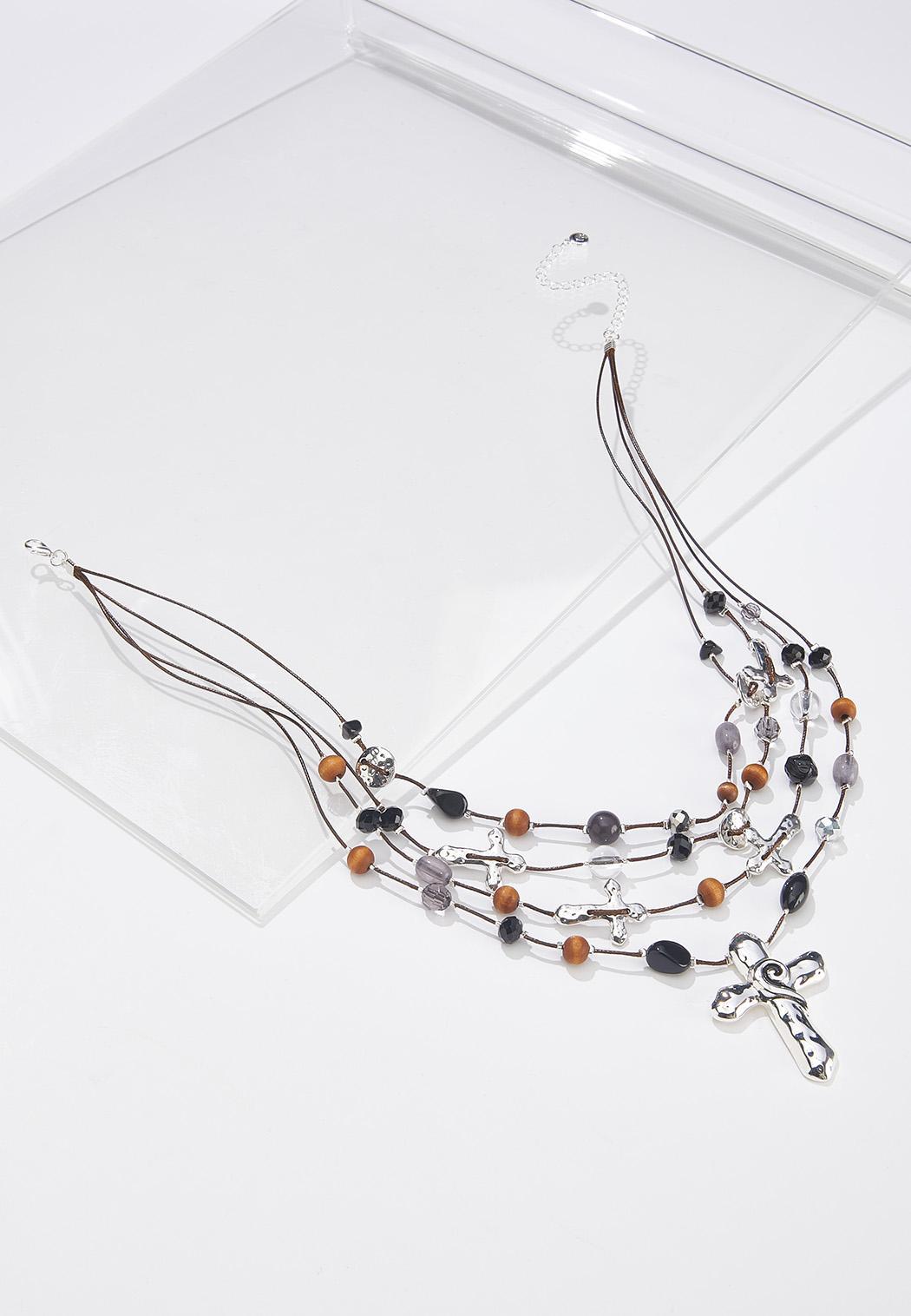 Layered Bead Cross Necklace