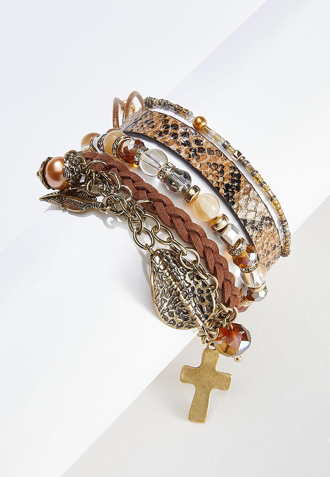 Mixed Band Cross Charm Bracelet Set