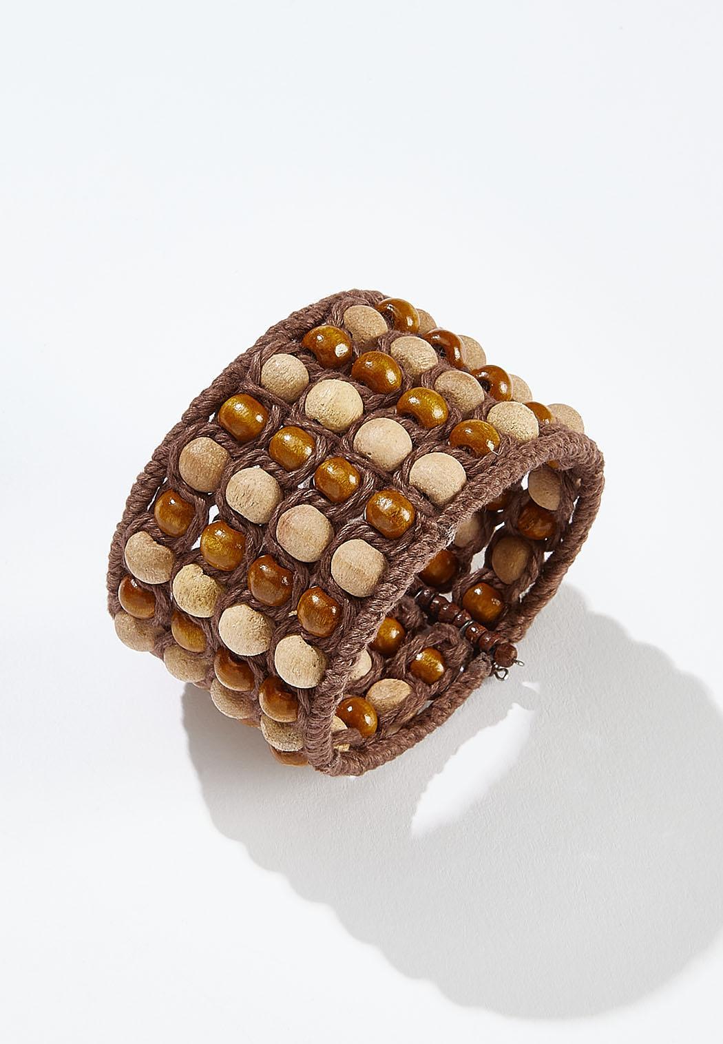 Beaded Yarn Cuff Bracelet