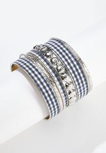 Gingham Metal Bracelet Set