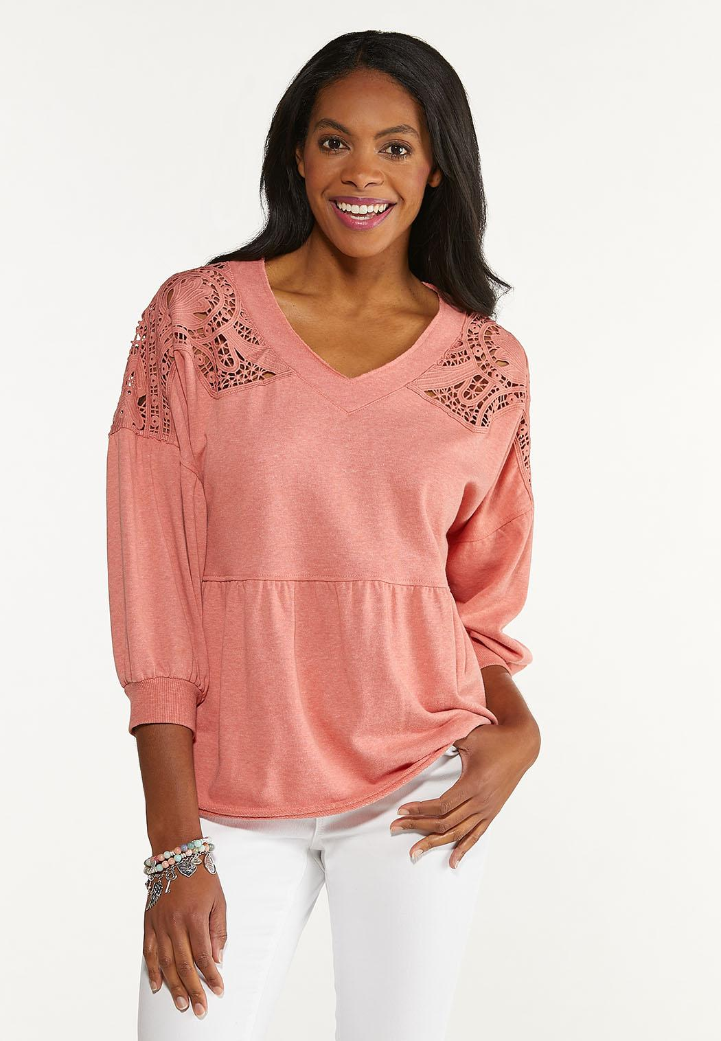 Plus Size Lace Trim Babydoll Sweatshirt