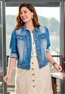 Plus Size Puff Sleeve Denim Jacket